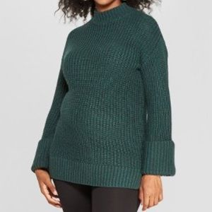 NWT Isabel Maternity Green Chunky Tunic Sweater